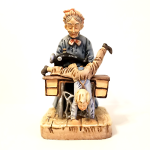 "Vintage Porcelain Figurine Old Lady Sewing Boys Pants Professor S. Colleli 10"""