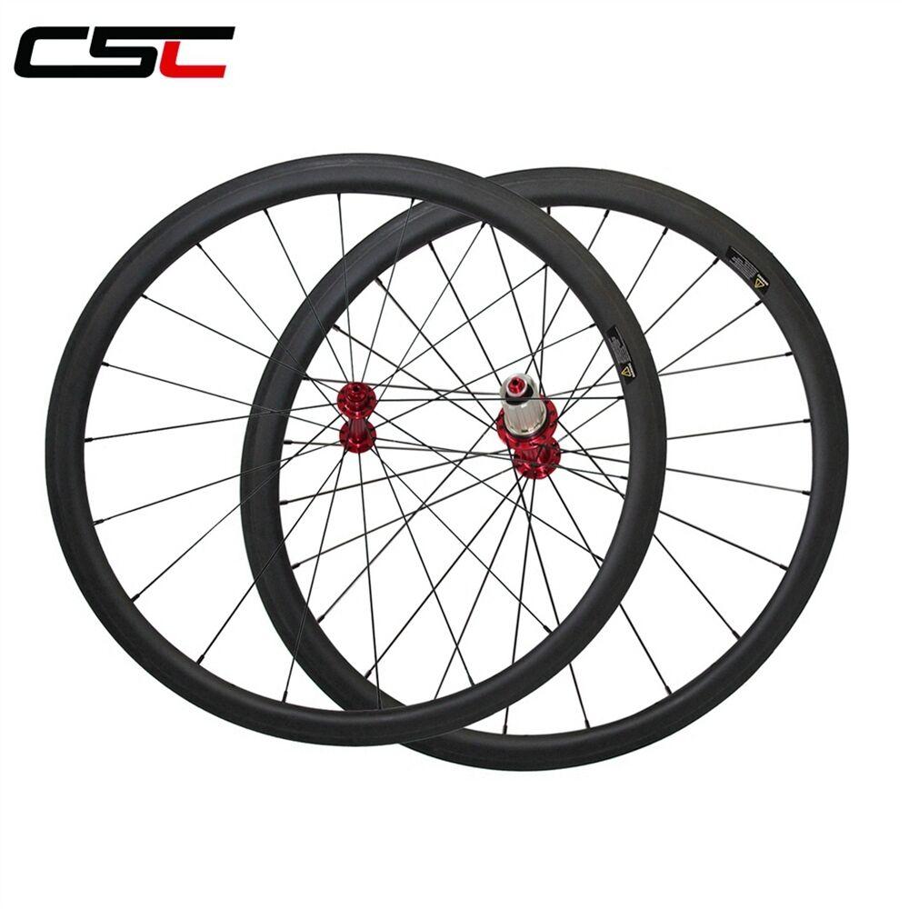 CSC U Shape 25mm wide 38mm tubular carbon road bike wheels with Powerway R13 hub