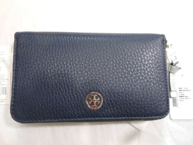 8e2bc2fbc4e New Tory Burch Robinson Large Zip Continental Leather Wallet Clutch,Tory  Navy