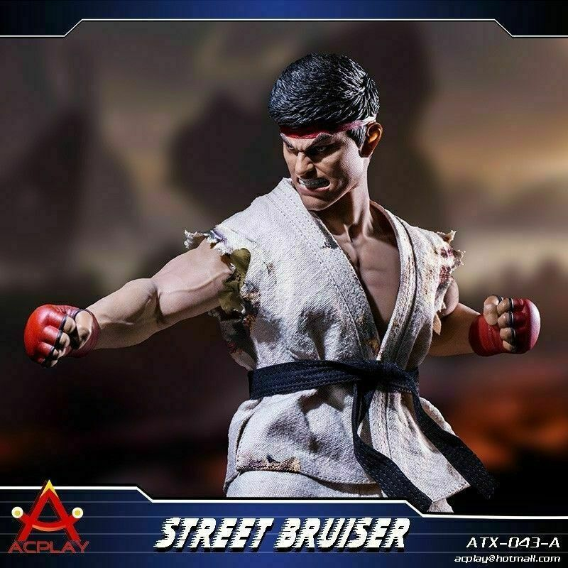 1 6 ACPLAY Street Bruiser Martial Head & Clothes ATX043A Set For 12  Male Figure