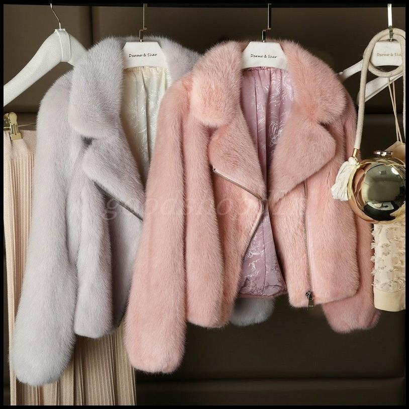Para Mujer Chaqueta corta con solapa  de piel de visón de invierno cálida Abrigos Parka gruesa Motos Nuevo  caliente