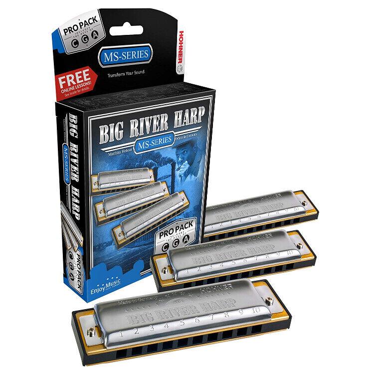 Hohner 3P590BX Groß River Mundharmonika pro Packung 3 Set Tasten C Beispiel Ein