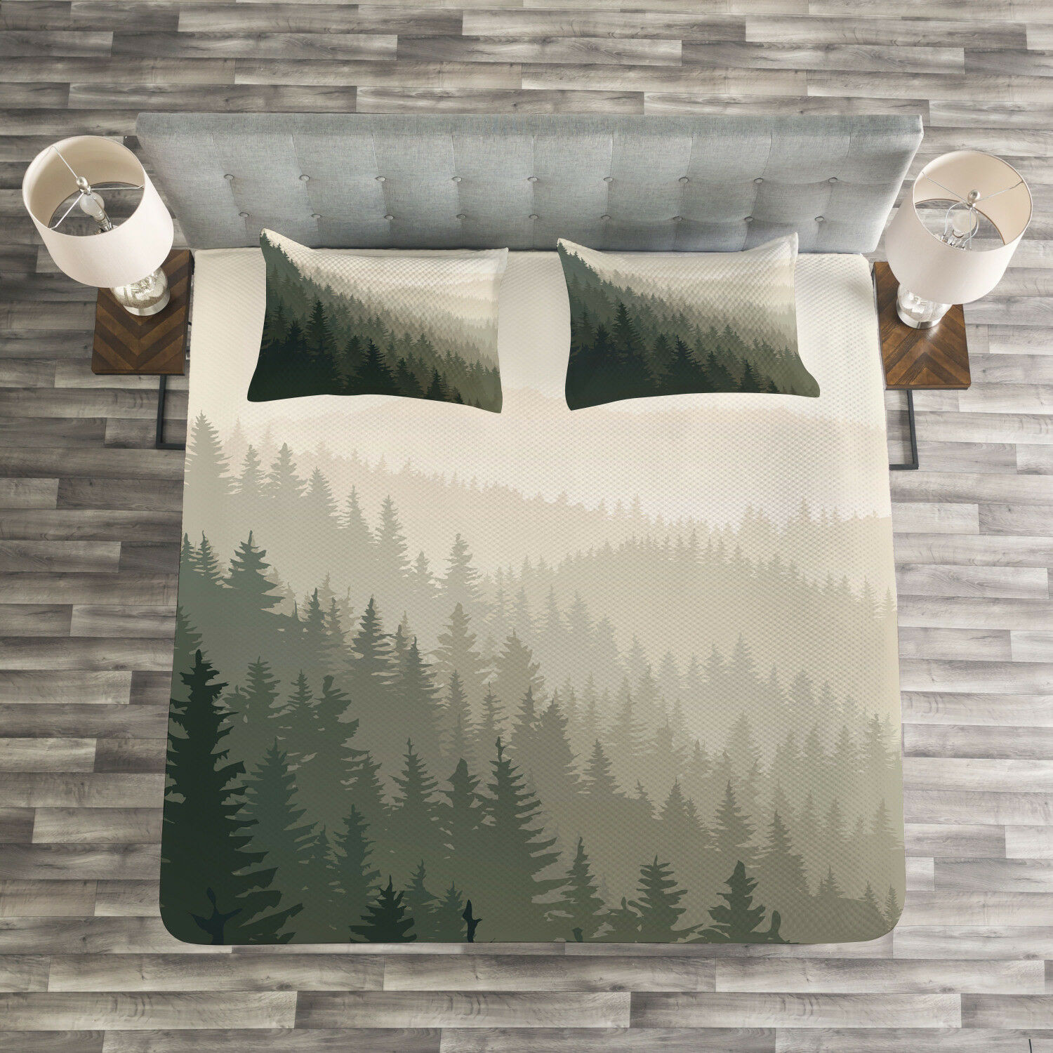 Forest Quilted Bedspread & Pillow Shams Set, Scandinavian Nature Print