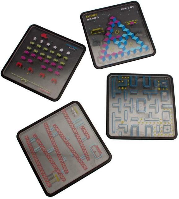 Set of 4 X Retro Classic 70s 80s Arcade Games Puzzle Drink Coasters