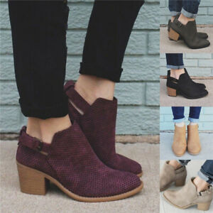 Women-Buckle-Block-Low-Heel-Ankle-Boots-Ladies-Hollow-Out-Casual-Work-Shoes-Size