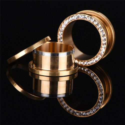 1XRhinestone Crystal Screw Tunnel Ear Expander Stretch Plugs Piercing Gauge/&