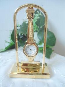 BULOVA-Peninsula-Collectible-Mini-Gold-Desk-Watch-Clock-Japan-Movement-SALE
