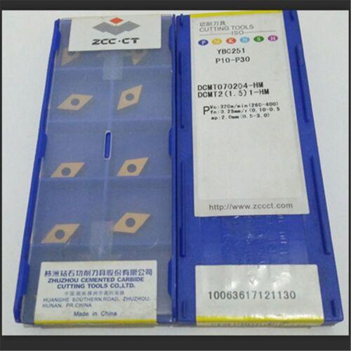1-HM NEW Carbide Inserts 10pcs ZCC.CT DCMT070204-HM YBC251 DCMT2 1.5