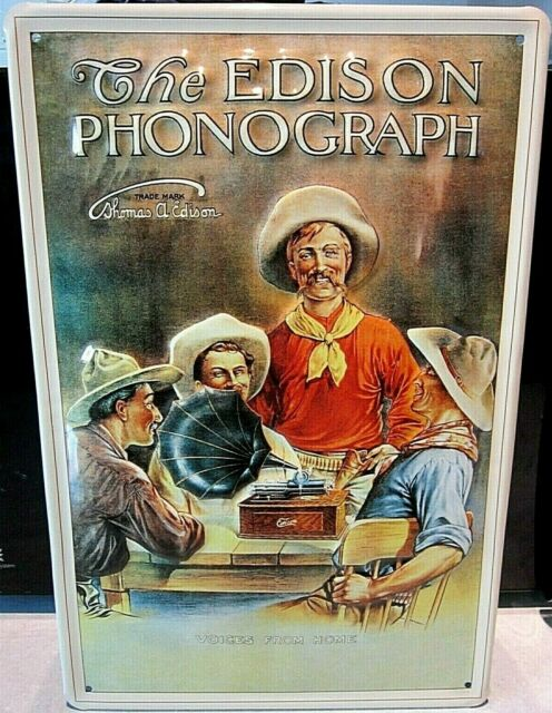 """THE EDISON PHONOGRAPH cowboys, EMBOSSED(3D)VINTAGE-STYLE SIGN, 12""""x 8"""" 30x20cm"""