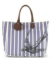 Juicy Couture Bag Large Blue Stripes Canvas Leather Tote