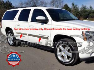 2007-2008-5-Chevy-Suburban-Avalanche-4Pc-Chrome-Body-Side-Molding-Trim-Overlay