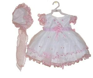 70096e05aa50 NEW BABY GIRLS INFANT SEVVA PINK- WHITE-IVORY FRILLY PARTY DRESS ...