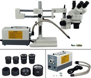 OMAX-2X-270X-Dual-bar-Boom-Zoom-Stereo-Trinocular-Microscope-Dual-Fiber-Light
