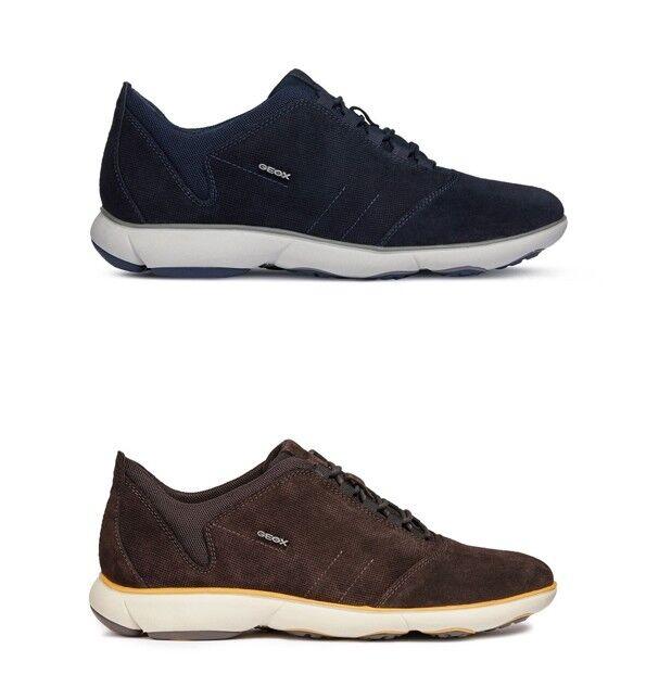 GEOX NEBULA U74D7C zapatos hombres zapatillas con lacci in camoscio Navy - Dk Coffee