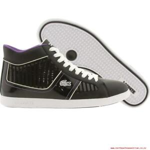 Lacoste-Women-039-s-Observe-2-High-MB-Black-Deep-Lavender-Shoes-Snickers-7-5