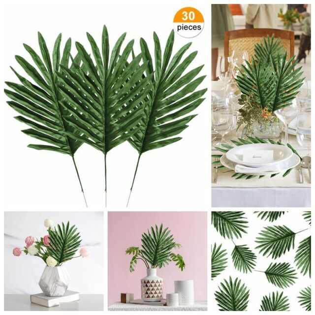 30pcs Palm Leaves Fake Tropical Leaf Artificial Leaves Decoration Fake Monstera For Sale Online