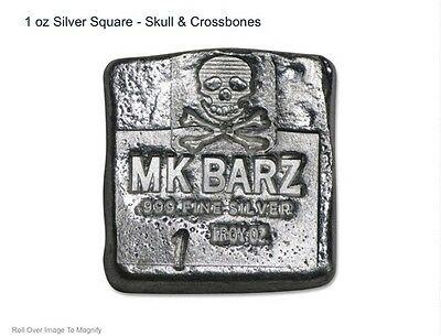 """1 TR//OZ MK BARZ   /""""SKULL SQUARE/"""" .999 Fine Silver  POURED Bar"""