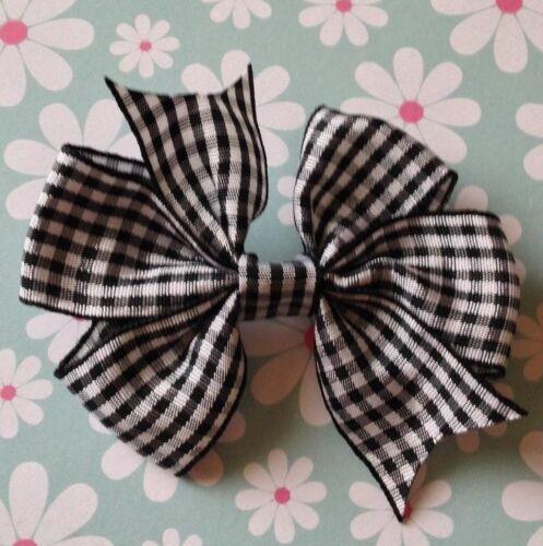 SMALL GINGHAM CHECK RIBBON PINWHEEL BOW PONYTAIL HAIR ELASTIC BOBBLE GIRL SCHOOL