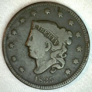 1835-Coronet-Head-US-Large-Cent-Copper-Coin-VG-Very-Good-Grade-1c-US-Penny-Coin