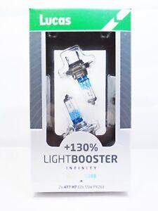 Lucas-H7-477-Car-LightBooster-130-Headlight-Bulbs-Lamps-499-PX26D-12v-55w