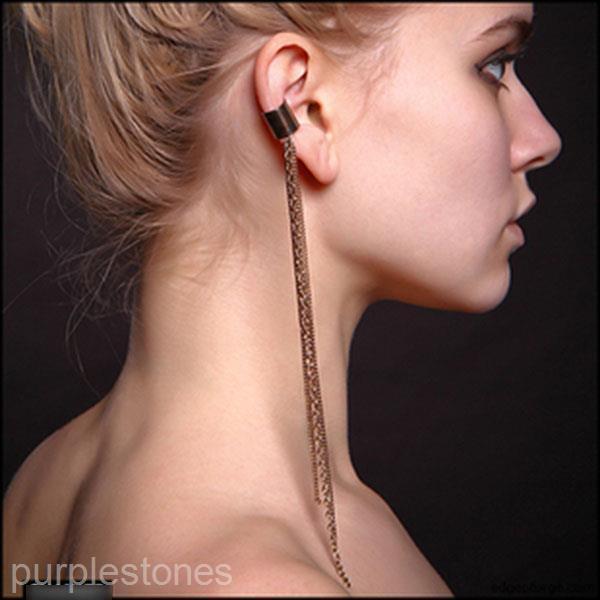 LOT Women Girl Retro Nifty Cuff Tassels Clip Pendant Chain Link Ear Stud Earring