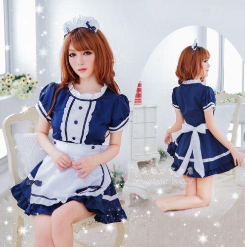 taille S-M Haute qualité 4 PIECES Maid Cosplay robe fantaisie Costume Uniforme parti