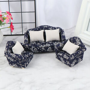 1-12-Dollhouse-Miniature-Wooden-Floral-Sofa-Cushions-Kit-Dollhouse-Furniture-Kn