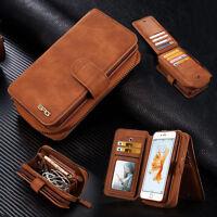 Retro Multifunktion Wallet Leder Handy Case SchutzHülle Cover Bumper Etui Tasche