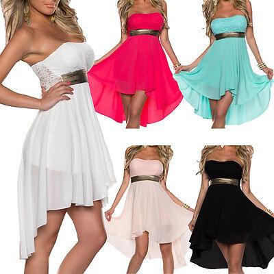 Sexy Women Dress Summer Lace Floral Strapless Dress Evening Party Mini Dress