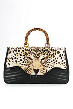 Gucci Leather Bamboo Leopard Print Top Handle Satchel Handbag Black