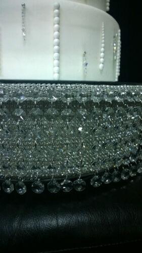 Real Diamante Cristal De Estilo en Cascada Pastel De Boda Stand