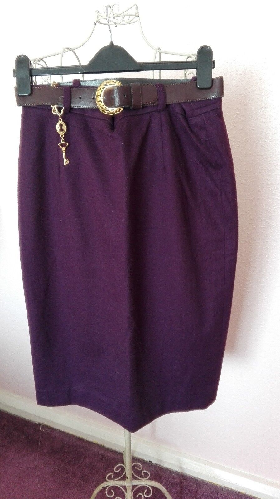 Cache D' or womens purple cashmere wool pencil vintage skirt size 14 excellent