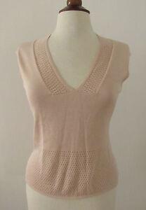 Womens-TOCCA-Beige-Silk-Cotton-Blend-Knit-Sleeveless-Top-Medium-K15