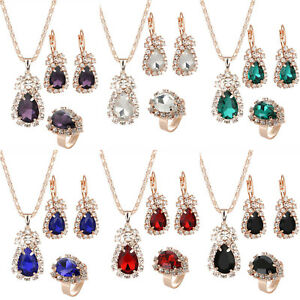 Image Is Loading Women Crystal Rhinestone Diamond Necklace Pendant Earrings Ring