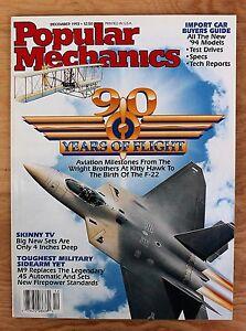 Popular-Mechanics-December-1993-90-Years-of-Flight-Skinny-TV-M9-Sidearm-Cars