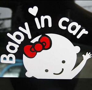 HOT-Cute-Girl-Baby-on-Board-034-Baby-in-car-034-Window-Car-Sticker-Vinyl-Decal-White