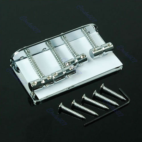 New Chrome Vintage Style Bridge For Jazz Bass Guitar With 5 Screws FAST SHIP
