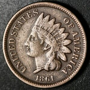 1861-INDIAN-HEAD-CENT-With-LIBERTY-Near-VF-VERY-FINE