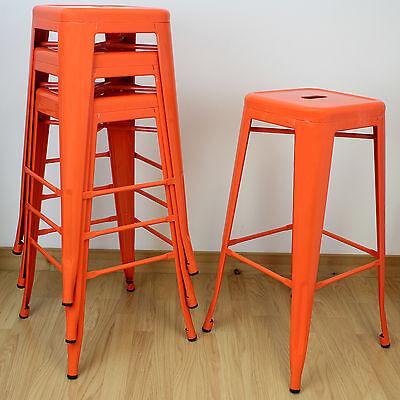Set of 4/Four Orange High Stools Industrial Breakfast Bar/Cafe/Bistro/Kitchen