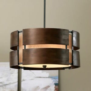 Image Is Loading Walnut Wood Mid Century Chandelier Pendant Modern Light