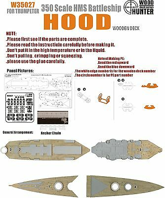Hunter 1/350 W35027 Wood deck HMS Hood for Trumpeter