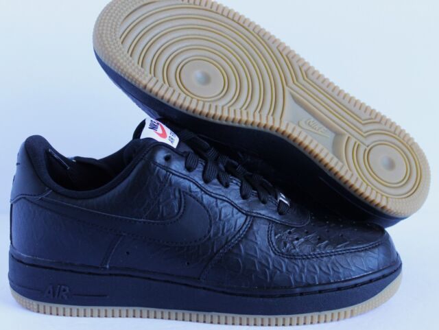 a4258f698415 Nike Air Force One Low 08 Lv8 Black Gum Light Brown Crocidile Print ...