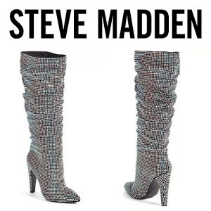 7268c33845a Steve Madden Women s Crushing Pointed Toe Boot Rhinestone Microsuede ...