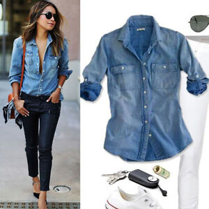 Retro fashion women casual blue jean denim long sleeve for Blue denim shirt for womens