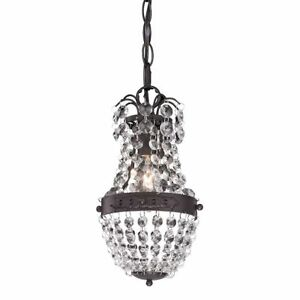 Image Is Loading Crystal Mini Chandelier Pendant Bronze Banding French Country