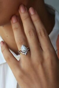 Classic Wedding Bridal Ring Set 1 5ct White Pear Cut Diamond 925