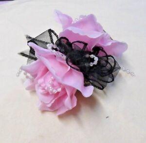 PROM-WRIST-CORSAGE-MANY-COLOURS-ROSES-on-black-ribbon