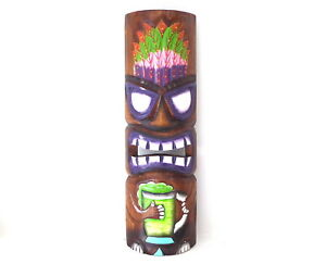 TIKI Mask Wooden Wall Plaque 50cm Hand Carved /& Painted.....