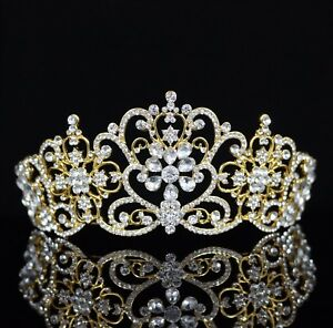 Floral-Austrian-Crystal-Rhinestones-Tiara-Crown-Bridal-Pageant-Prom-Party-T27g