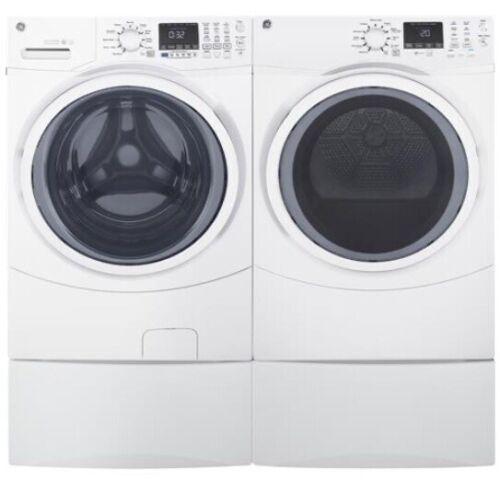 NIB GE 4.5-cu ft Stackable Front-Load Washer & Dryer Set Pedestals Included